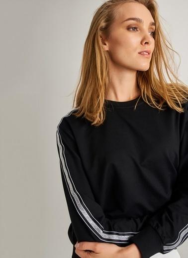 People By Fabrika Şerit Detaylı Sweatshirt Siyah